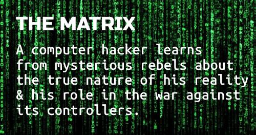 Logline workshop: The Matrix - white text on scrlling green code on black background.